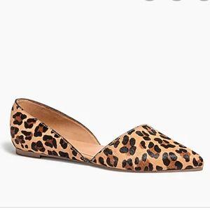 J.Crew Zoe calf hair leopard D'Orsay flats 9.5